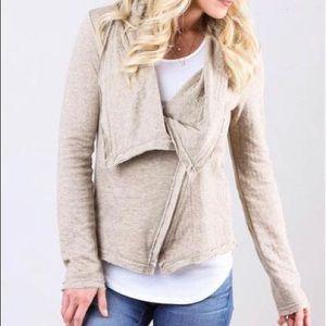 Mystree Asymmetrical Knit Jacket Tan